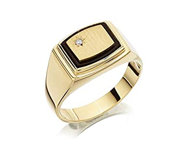 16cd4358d844a F.Hinds Mens Jewellery 9ct Yellow Gold Heavyweight Onyx And Diamond ...