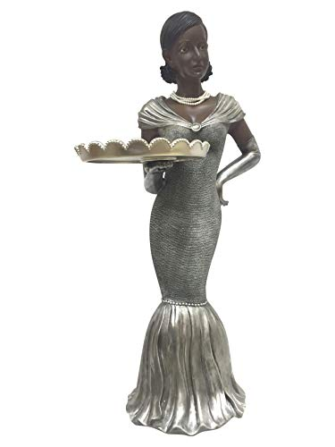 Bombay Jasmine the Hostess Butler Statue Side Table, 40-inch High