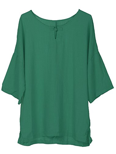 Tops Manches Mallimoda Tee Chauve Femme Vert Lin Simple Shirt Dcontract Souris Chic raawB8qY