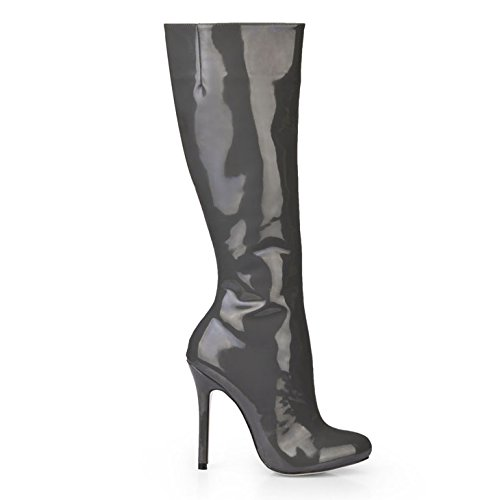 donna Stivali donna grandi Scarpe da da alti Grigio New scuro Tacco in pelle Grigio Round Headed dipinta Scarpe RREprgqx