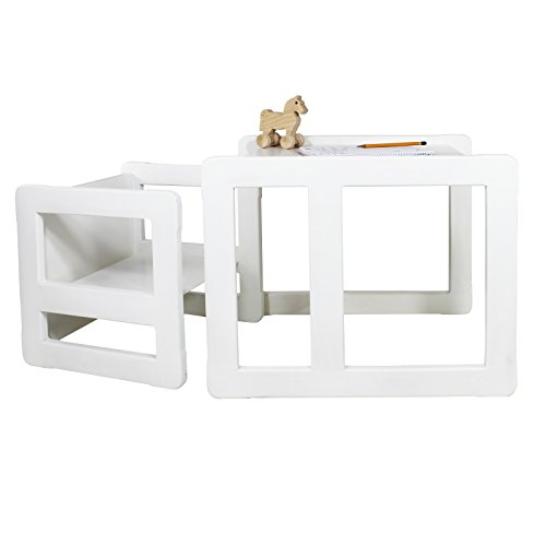 3 in 1 Childrens Multifunctional Furniture Set of 2, One Small Chair or Table and One Large Chair or Table Beech Wood, White Stained by Obique Ltd