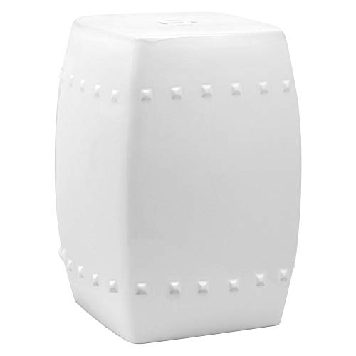 Safavieh Castle Gardens Collection Villa White Glazed Ceramic Garden Stool (And White Blue Garden)