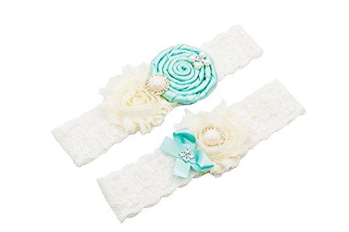 Unibuy Wedding Lace Garter Set Aqua Vintage inspired With Pearl (Gift (Vintage Inspired Wedding Garter)