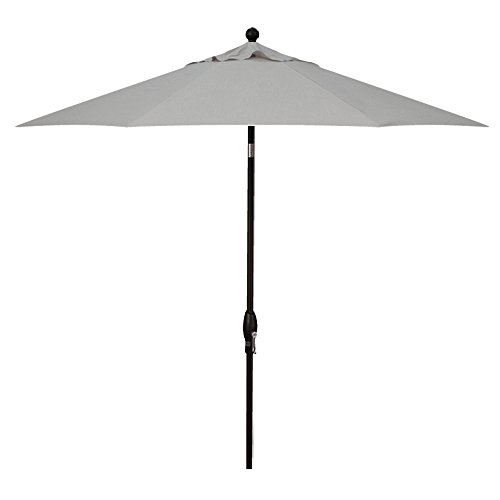 Treasure Garden 9-Foot (Model 810) Deluxe Auto-Tilt Market Umbrella Black Frame Sunbrella Fabric: Cast Silver (Includes 3 Year Extended Frame Warrantee)