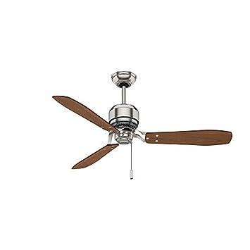 Casablanca 59501 Tribeca 52-Inch 3-Blade Ceiling Fan, Brushed Nickel with Burnt Walnut Walnut Blades