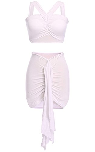 Eshion® Women Two Piece Crop Top Midi Skirt Set Summer Holiday Beach Skirt