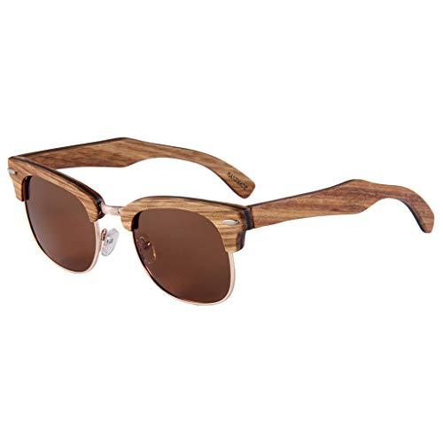 de sol Color Protección UV Marco Gafas Bambú Aire de Metal Polarizadas Gafas bambú de Hombres Lente Conducción Madera Libre de de Brown con Al Y Medio Gafas de Brown RqwdFB11