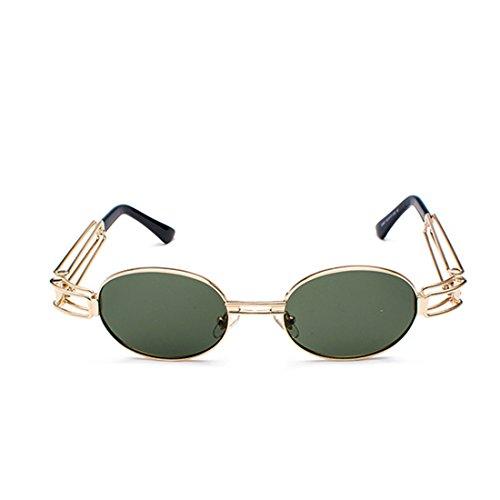 redondas ovales transparente Verde lente Lentes Oscuro sol Aiweijia gafas de de de señoras de Gafas de Gafas marco hombres de metal los 4wOg7qB