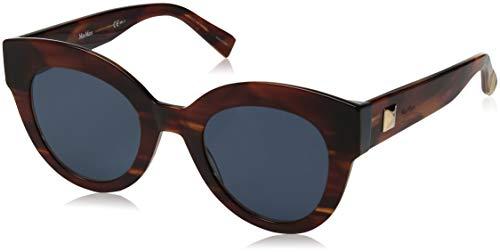 Max Mara Women's Mm Flat I Round Sunglasses, Brown Horn, 48 ()
