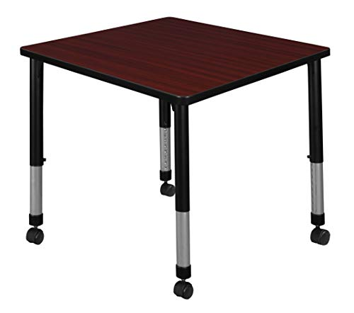 Height Mahogany - Regency TB3030MHAPCBK Kee Height Adjustable Mobile Square Classroom Table 30