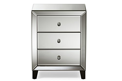 Baxton Studio Chevron Modern and Contemporary Hollywood Regency Glamour Style Mirrored 3-Drawers Nightstand Bedside Table, Medium