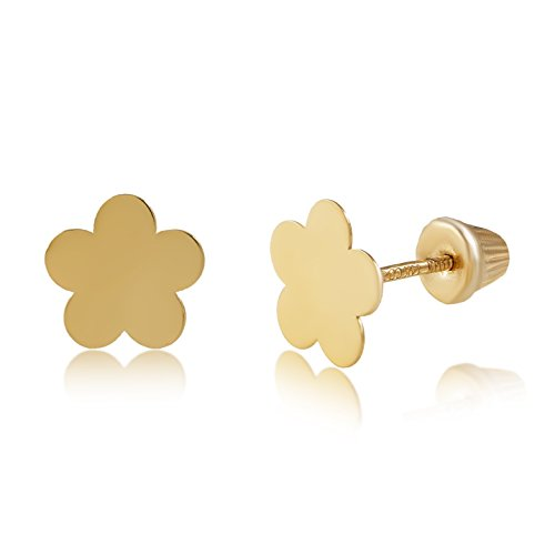 Earrings Flower Gold Yellow - Balluccitoosi 14k Gold Tiny High Polished Flower Stud Earrings for Women & Girls - Real Hypoallergenic for Sensitive Ears, Small & Minimalist
