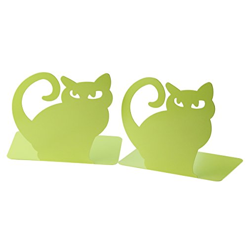 Cute Vivid Lovely Persian Cat Book Organizer Metal Bookends For Kids School Library Desk Study Home Office Decoration Gift - Green Bookends