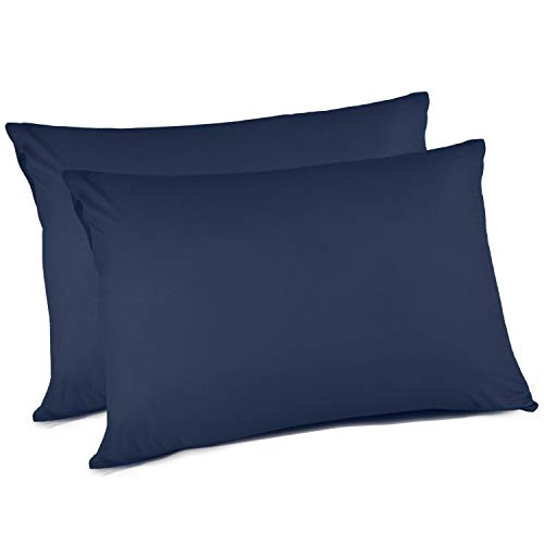 Adoric Pillow Cases Queen Size, 100% Brushed Microfiber Standard Pillowcases, Ultra Soft, Envelope Closure End, Wrinkle, Stain, Allergy Resistant (Set of 2, Blue)