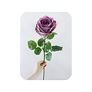 Real Touch Rose Artificial Flowers Silk Rose Flowers Branch for Home Party Wedding Decoration Fake Flower with Leaf,Purple 2