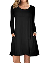 Women's Long Sleeve Pockets Casual Swing T-Shirt Dresses