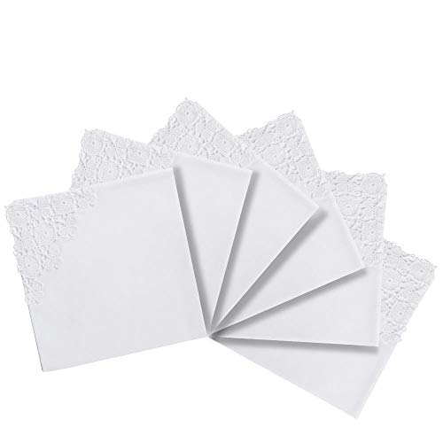 RICOSKY Bridal Wedding White Crochet Lace Handkerchief Pack of 6 Pieces