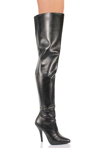 Pleaser Women's Seduce-3010 Thigh High Boot,Black PU,6 M US Black Leather Thigh High Boots