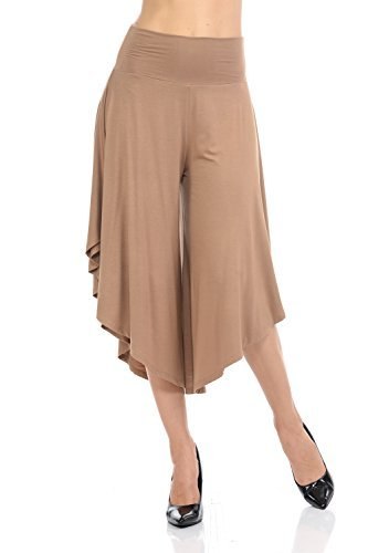 JDJ CO. Women's Layered Wide Leg Flowy Cropped Palazzo Pants, 3/4 length High Waist Palazzo Wide Legs Capri Pants(Medium,Mocha)