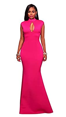 Womens Mock Neck Key Hole Sleeveless Evening Gown Prom Party Mermaid Long Dress