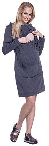 Happy Mama. Mujer Vestido Sudadera en Capas Capucha Premamá de Lactancia. 208p Grafito Mezcla