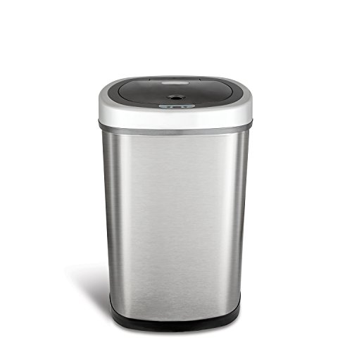 Ninestars DZT-50-9 Automatic Touchless Motion Sensor Oval Trash Can, 13.2 Gal. 50 L, Stainless Steel (Trash Can Hands Free)