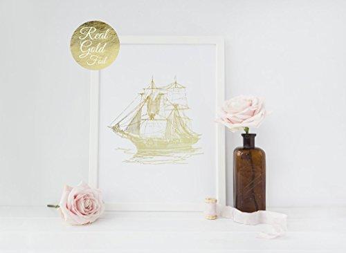 Nautical Ship Print, Gold Ship Poster, Maritime Print, Real Gold Foil, Old Ship Wall