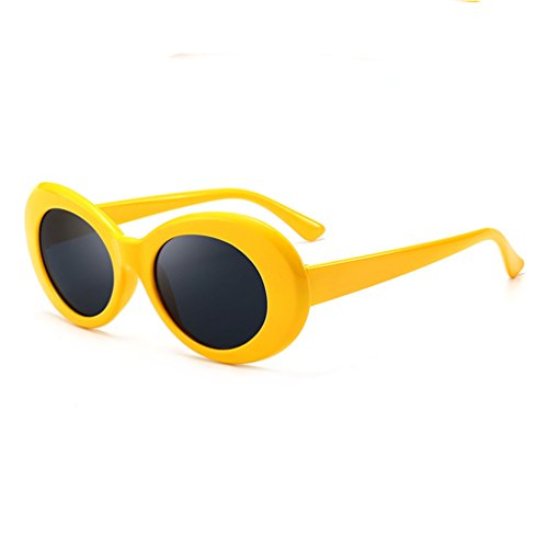 Armear Clout Goggles Oval Mod Retro 80s Sunglasses Unisex Oversized Plastic Frame Eyewear Yellow