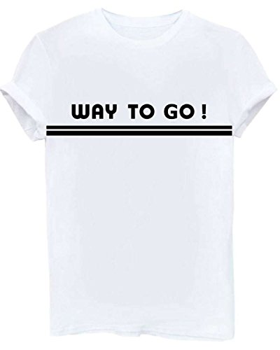 Rendemon Women Fashion Summer Graphic T-Shirts Casual Crewneck Girl Tops Tee White M