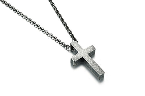 High Polish Cross Necklace (MP Antique Stainless Steel Cross Charm Pendant Necklace High Polish for Men Women Baptism Gift,Grey)