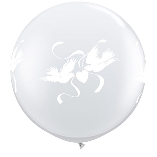 Qualatex 29170 3ft Love Doves Wrap Round Diamond Clear Latex Balloons 02ct, 3 ft