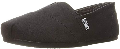 BOBS from Skechers Women's Plush Peace and Love Flat,Black,9.5 M US
