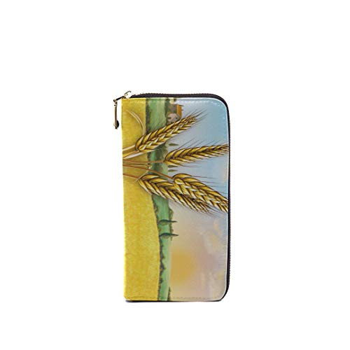 Unisex Rfid Leather Zipper Long Wallets For Men Rural Landscape Showing Wheat Field On Unique Custom Clutch Bag Purse Credit Card Holder Cash Cellphone Wallet For Women With 2 Cash Compartment