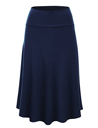 WB1105 Womens Lightweight Fold Over Flared Midi Skirt M Navy by Lock and Love
