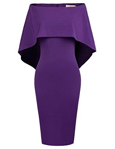 GRACE KARIN Women Off Shoulder Batwing Cape Midi Dress XL Purple