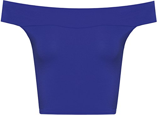 WearAll Women's Off Shoulder Plain Short Crop Bandeau Open Cowl Neck Top - Royal Blue - US 4-6 (UK 8-10)