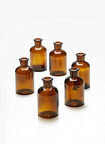 Serene Spaces Living Dark Amber Medicine Bottle Bud Vases, Set of 6, Antique Glass Bottles, 4