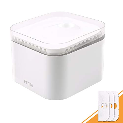 PETBIA Pet Water Fountain: Electric Automatic Water Bowl for Cats and Dogs, White, 2.5L Water Volume