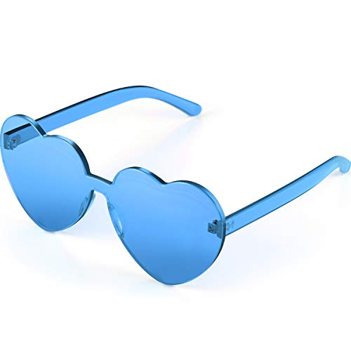 Maxdot Heart Shape Sunglasses Party Sunglasses (Transparent blue) (Accessories For Women Sunglasses)