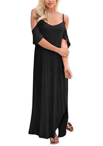 Womens Short Sleeve Split Beach Cold Shoulder Loose Pocket Spaghetti Strap Maxi Dress Black - Out Strap Dress Cut Shoulder