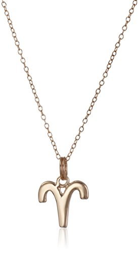 """UPC 014844812194, Rose Gold Plated Sterling Silver Aries Zodiac Pendant Necklace, 18"""""""
