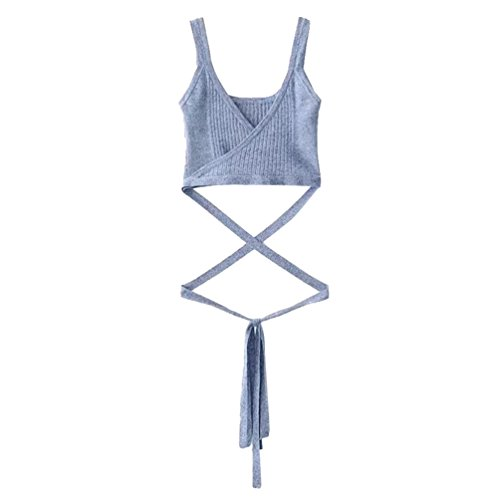 WanYang Mujeres Sin Tirantes de Manga Corta Blusa del Chaleco Camiseta Sin Mangas Chaleco Tank Tops Azul
