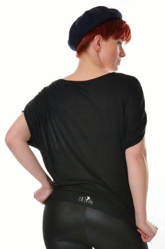 estampada corta Camisa manga negro mujer de Mushroom de camiseta Top Bat 3elfen suelta qUwaIg