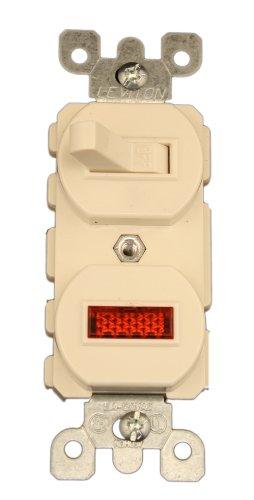 Leviton 5226-T 15 Amp, 120 Volt, Duplex Style Single-Pole, Neon Pilot AC Combination Switch, Commercial Grade, Light Almond