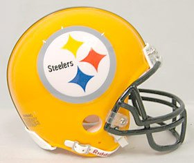 Riddell NFL Pittsburgh Steelers Helmet Replica Mini VSR4 Style 75th Anniversary Throwback 2007 Gold, One Size, Team Color -