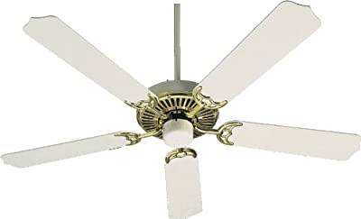 Quorum International 77525-26 Capri I 52-Inch Ceiling Fan, Polished Brass and Gloss White Finish with White Blades