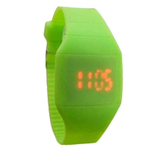 (Noopvan Children's The Jelly Ultra-Thin Sport Waterproof New Ultra-Thin Square LED Electronic Bracelet Watch Touch Single Button Sports Children's Electronic Wrist Watch (Green) )
