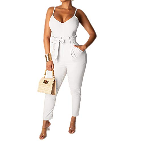 (IyMoo Sexy Bodycon Jumpsuits for Women-Spaghetti Strap V Neck Jumpsuits Romper Jumper White S)