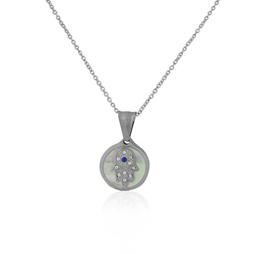 [Stainless Steel Simulated Mother of Pearl CZ Hamsa Pendant Necklace 18