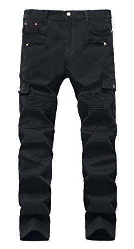 Men's Slim pencil Multi-pocket Stretch wrinkled Biker Jeans W36 - Balmain Men